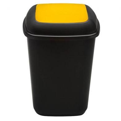 Cos plastic pentru reciclare selectiva, capacitate 90l, PLAFOR Quatro - negru cu capac galben