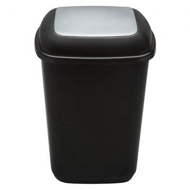 Cos plastic pentru reciclare selectiva, capacitate 90l, PLAFOR Quatro - negru cu capac gri