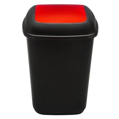 Cos plastic pentru reciclare selectiva, capacitate 90l, PLAFOR Quatro - negru cu capac rosu