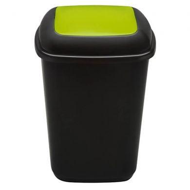 Cos plastic pentru reciclare selectiva, capacitate 90l, PLAFOR Quatro - negru cu capac verde