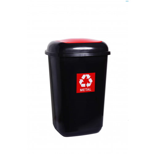 Cos plastic pentru reciclare selectiva, capacitate 45l, PLAFOR Quatro - negru cu capac rosu