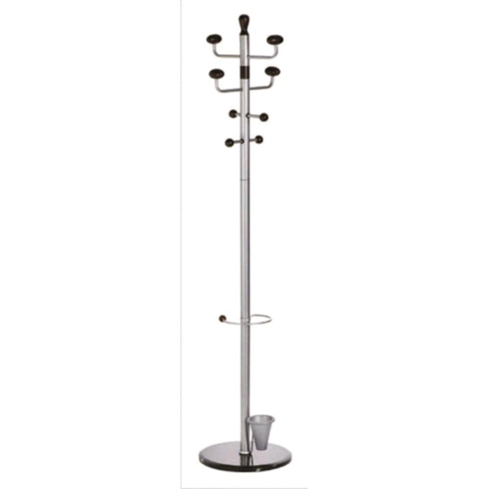 Cuier metalic argintiu ALCO, 180/38cm, 8 agatatori metalice, accesorii lemn negru, suport umbrele