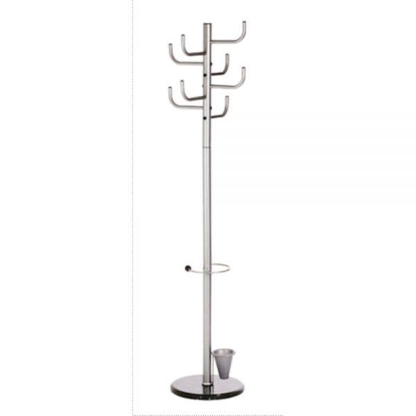 Cuier metalic argintiu ALCO, 172/40cm; cu 8 agatatori metalice, suport umbrele