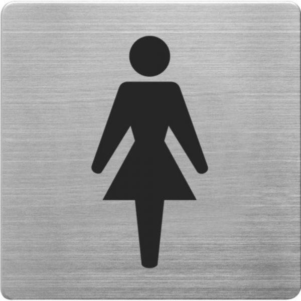 Placuta cu pictograma ALCO, din otel inoxidabil, imprimate cu negru - toaleta femei