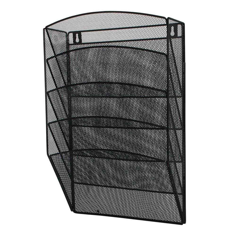 Display metalic pentru pliante si cataloage Mesh, de perete, 5 x A4, Q-Connect - negru