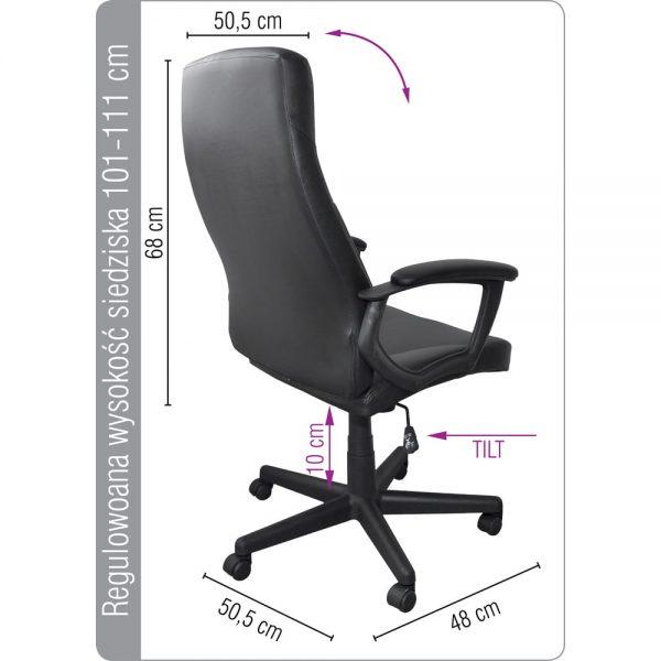 Scaun de birou piele ecologica, brate plastic, rotile, Office Products Crete - negru