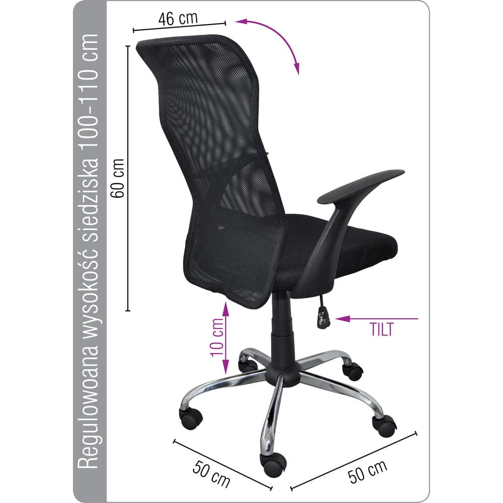 Scaun de birou Mesh textil, brate plastic, rotile, Office Products Rhodos - negru