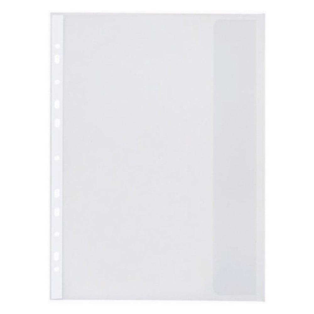 Folie protectie documente A4, cu clapa laterala, 120 microni, 10/set, Optima - transparent