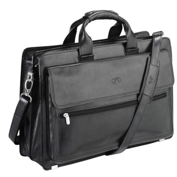 Geanta din piele neagra, pentru laptop, 36 x 18 x 10cm, TONY PEROTTI - Versilia Collection