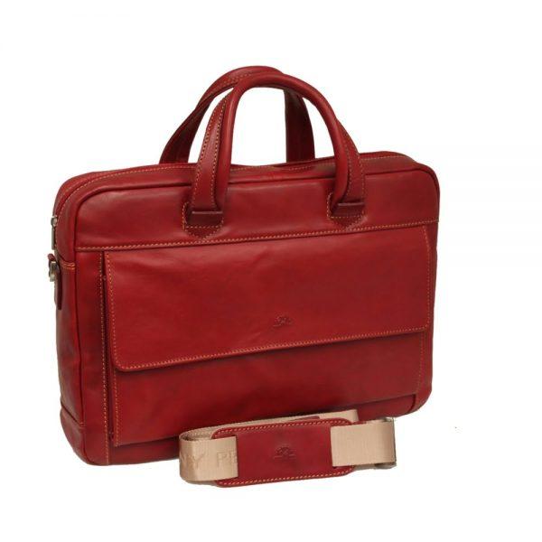 Geanta dama, din piele rosie, pentru laptop, 38 x 28 x 8cm, TONY PEROTTI - Green Collection