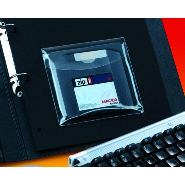 Buzunar autoadeziv cu clapa pentru CD/DVD, 126 x 126mm, 6/set, PROBECO