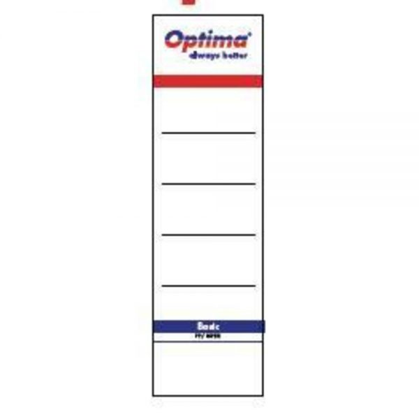 Etichete albe pentru biblioraft 75 mm , 10/set, Optima