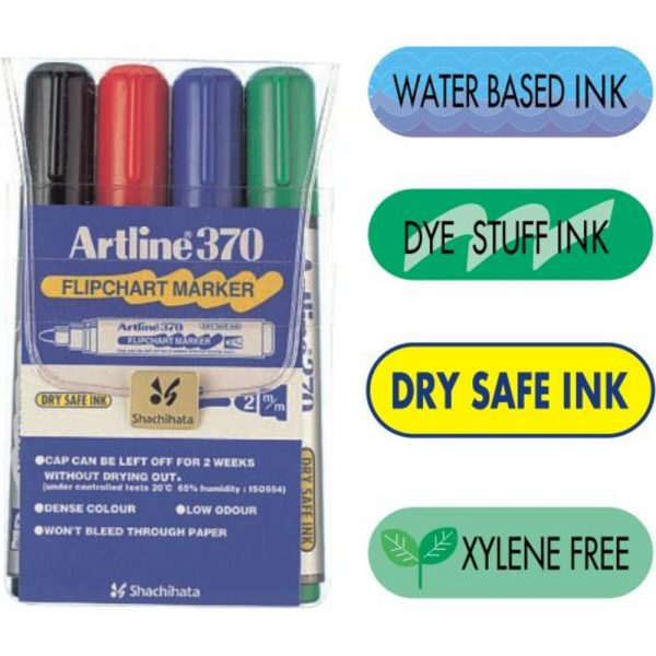 Flipchart marker ARTLINE 370, varf rotund 2.0mm, 4 culori/set