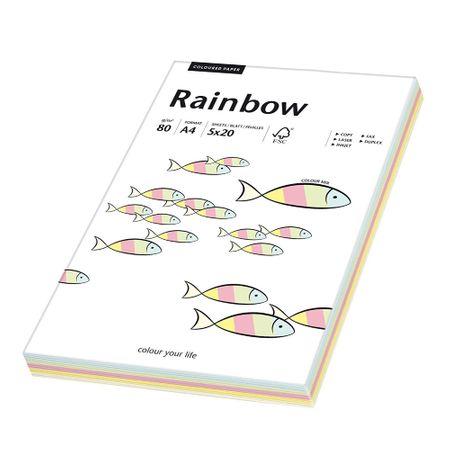 Hartie A4 colorata mix, 80 g/mp, Rainbow, 100 coli/top, 5 culori pastel