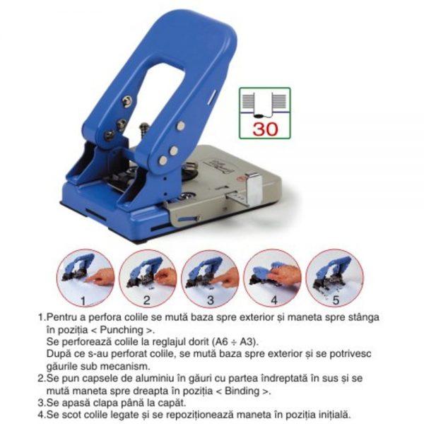 Perforator metalic 2 gauri + aplicator capse, 30 coli, TURIKAN BP-01