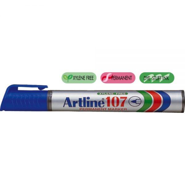 Permanent marker ARTLINE 107, corp plastic, varf rotund 1.5mm - albastru