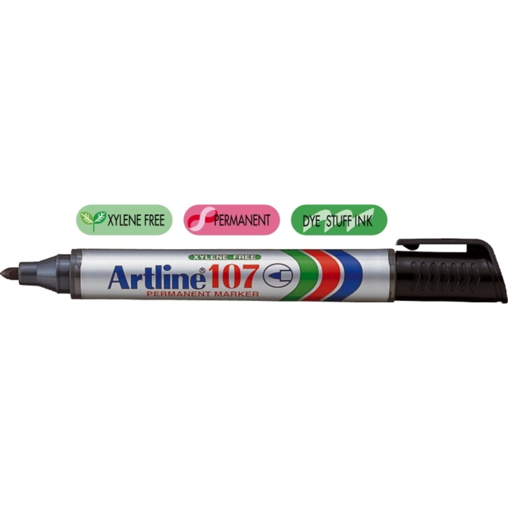 Permanent marker ARTLINE 107, corp plastic, varf rotund 1.5mm - negru