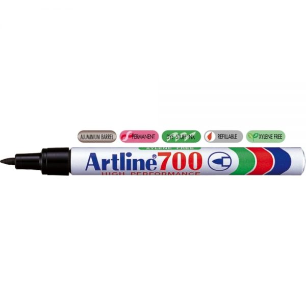 Permanent marker ARTLINE 700, corp metalic, varf rotund 0.7mm - negru