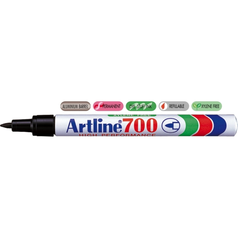 Permanent marker ARTLINE 700, corp metalic, varf rotund 0.7mm - negru