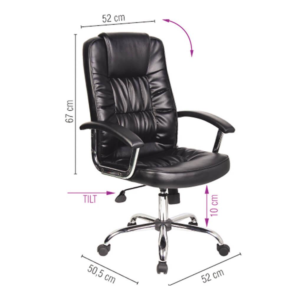 Scaun de birou piele ecologica eleganta, brate metalice, rotile, Office Products Cyprus - negru