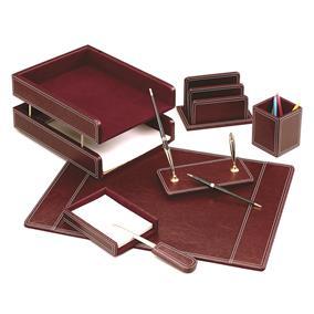 Set birou lux din piele FORPUS, 7 piese - rosu inchis