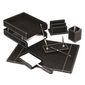 Set birou lux din piele FORPUS, 7 piese - negru