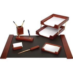 Set birou lux din lemn maro FORPUS, 8 piese
