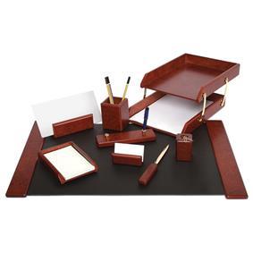 Set birou lux din lemn visiniu FORPUS, 9 piese