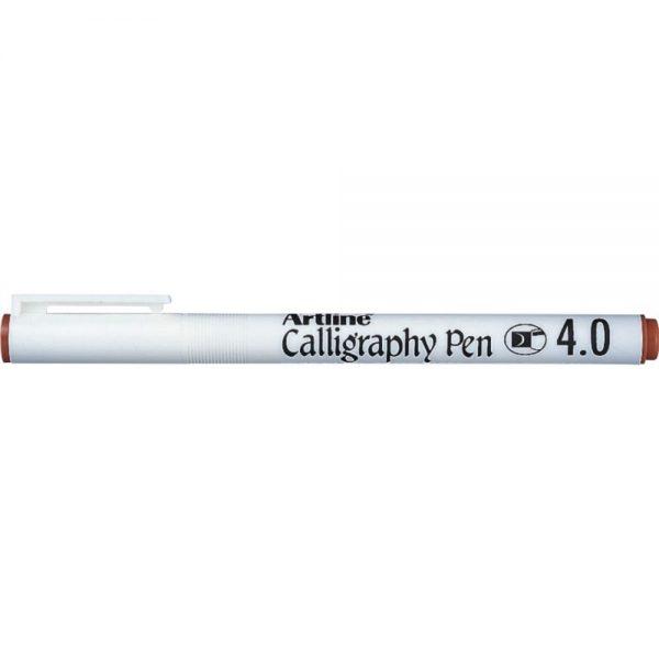 Marker ARTLINE Calligraphy, varf tesit din fetru 4.0mm - maro