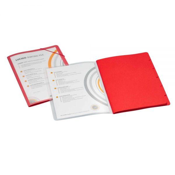 Mapa cu 6 separatoare A4, carton color, coperta PP cu buzunar de prezentare, Avanti - rosu
