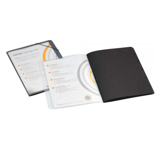 Mapa sortare A4, 6 separatoare, carton color, coperta PP cu buzunar de prezentare, Avanti - negru