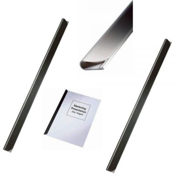 Sina plastic LEITZ pentru legat documente 9 mm, 90 coli, 25/cutie - negru