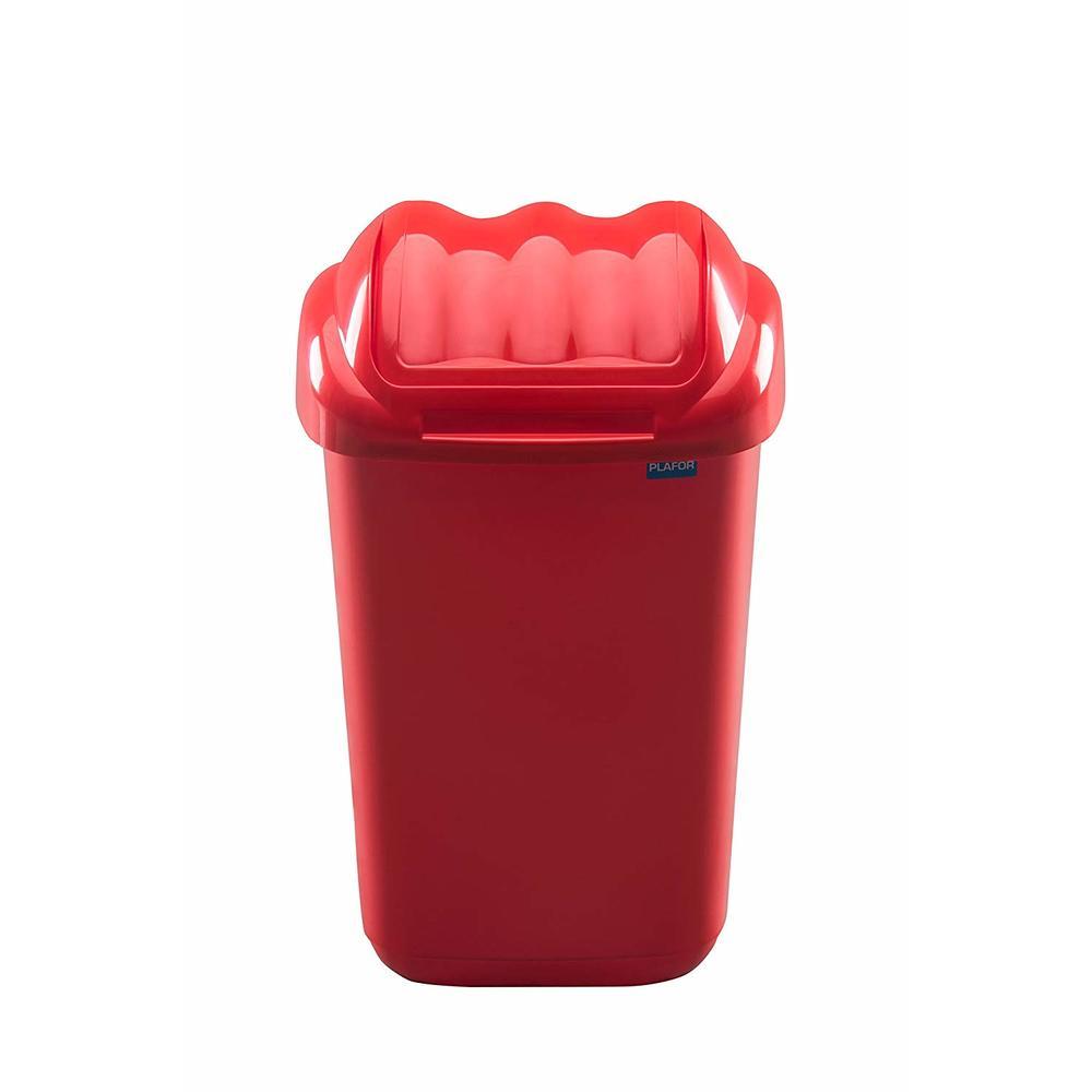 Cos plastic cu capac batant, capacitate 50l, PLAFOR Fala - rosu
