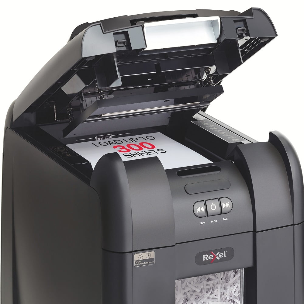 Distrugator Automat documente REXEL Auto+ 300X SmarTech, 300 coli, P4, cross-cut (confeti)