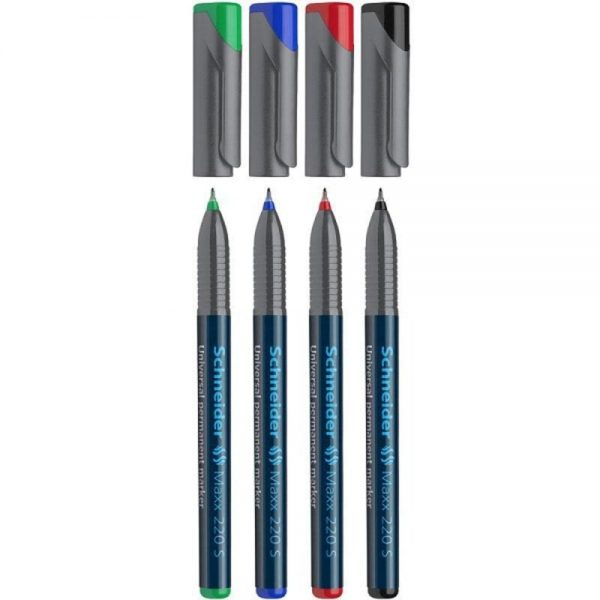 Marker permanent SCHNEIDER Maxx 220 S, varf 0.4mm, 4 culori/set