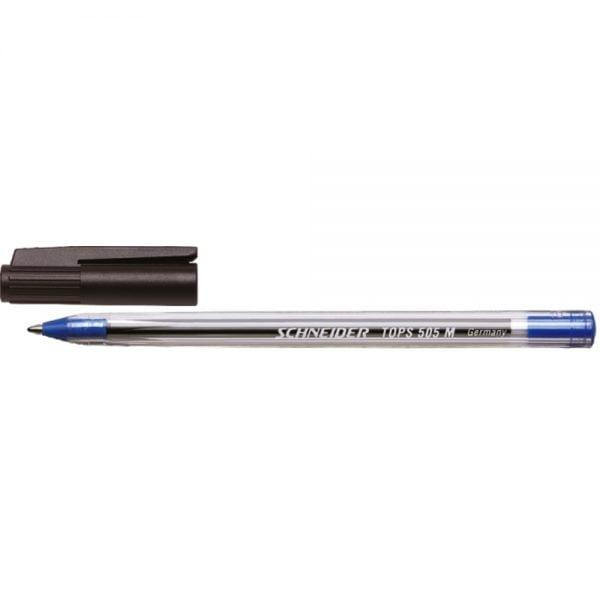 Pix SCHNEIDER Tops 505M, unica folosinta, varf mediu, corp transparent - scriere albastra
