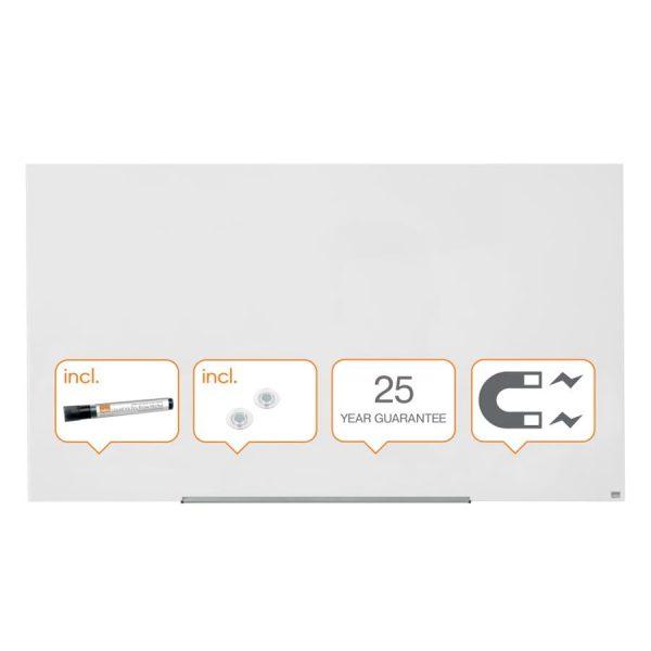 Tabla magnetica din sticla Diamond Widescreen 85 inch alb Nobo