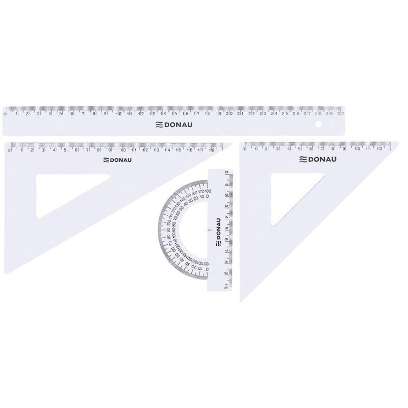 Set geometrie mare, contine: rigla 30cm, raportor, echer 13cm si echer 19cm, DONAU - transparent