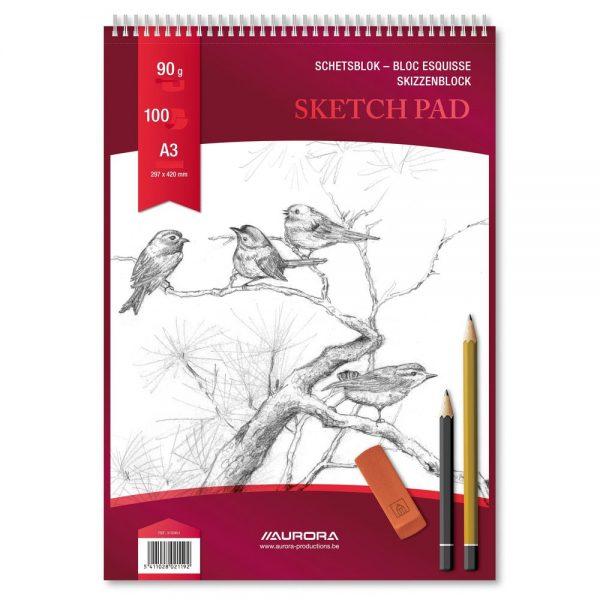 Bloc desen cu spirala A3, 100 file - 90g/mp, pentru schite creion, AURORA Esquisse