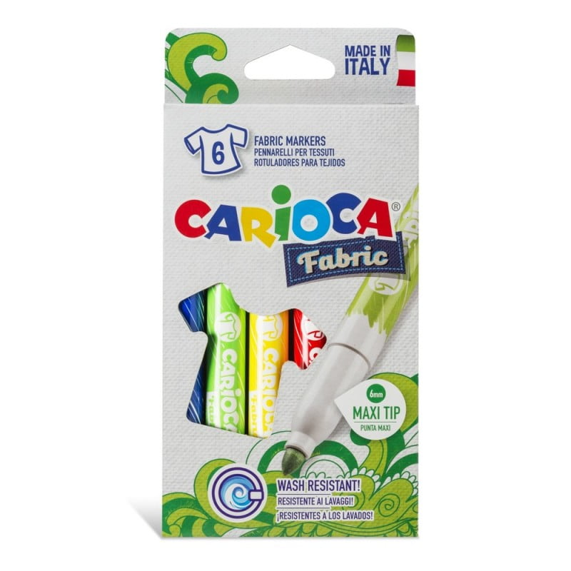 Carioca pentru textile, varf gros 6mm, 6 culori/cutie