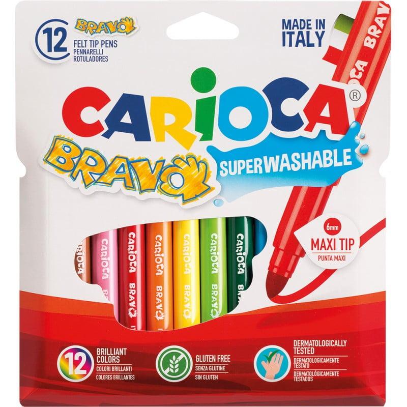 Carioca lavabila varf gros 6mm, 12 culori/cutie, CARIOCA Bravo