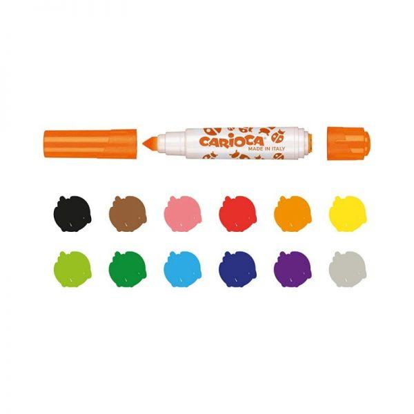 Set 12 markere lavabile, cu 12 stampile, cutie carton