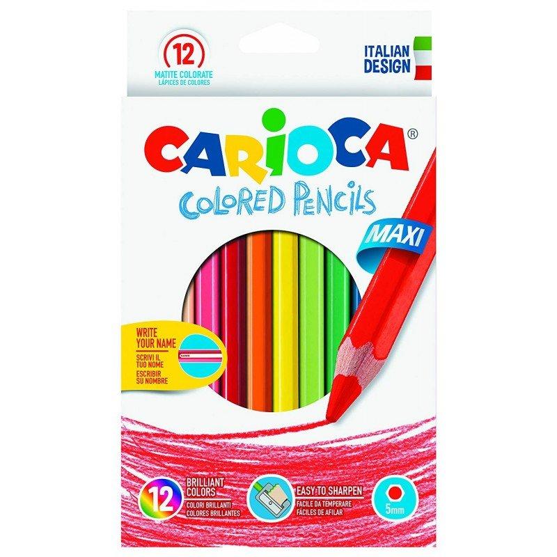 Creioane colorate CARIOCA Maxi, hexagonale, 12 culori/cutie