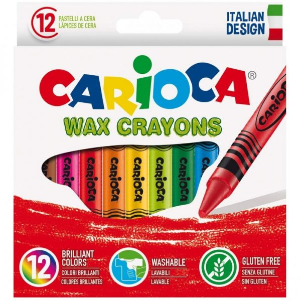 Creioane cerate rotunde, lavabile, D- 8mm, 12 culori/cutie, CARIOCA Wax Crayons