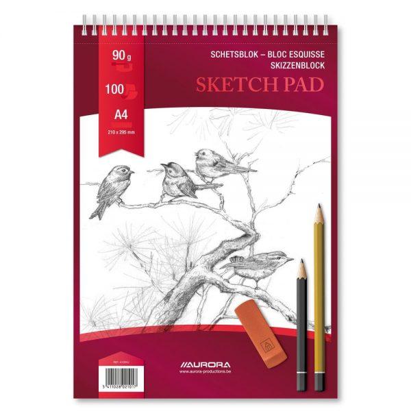 Bloc desen cu spirala A4, 100 file - 90g/mp, pentru schite creion, AURORA Esquisse