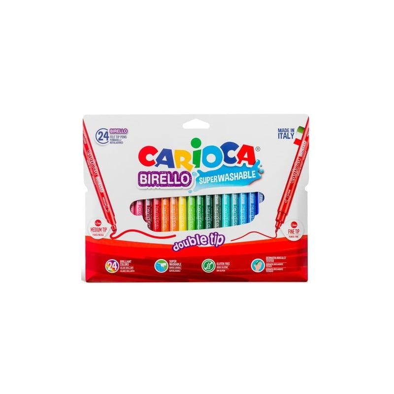 Carioca super lavabila, cu 2 capete, varf subtire/gros, 24 culori/cutie, CARIOCA Birello
