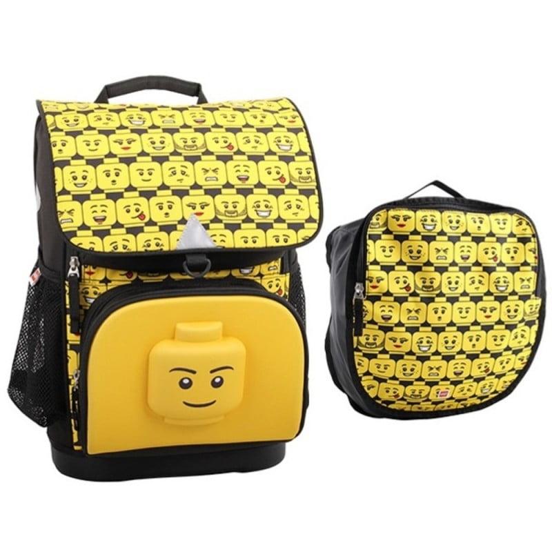 Ghiozdan scoala Optimo + sac sport, LEGO Core Line - design Minifigures Heads