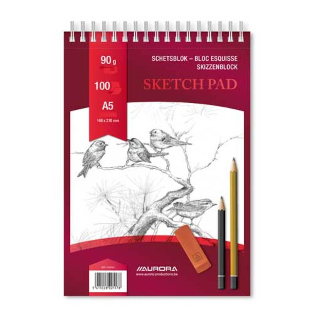 Bloc desen cu spirala A5, 100 file - 90g/mp, pentru schite creion, AURORA Esquisse