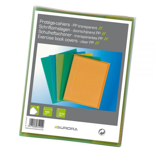 Coperta, pentru caiet A5, 5 buc/set, AURORA, transparent