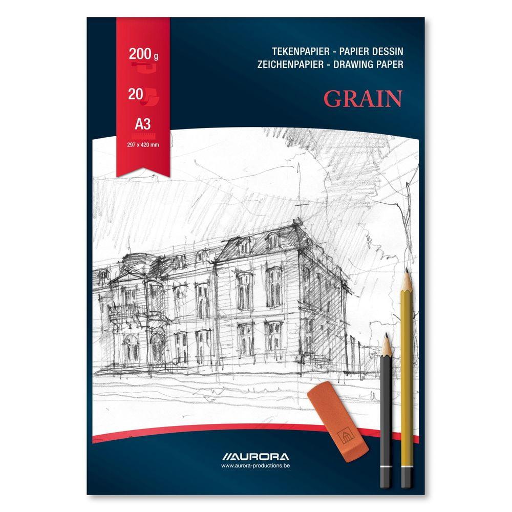 Bloc desen A3, 20 file - 200g/mp, AURORA Grain
